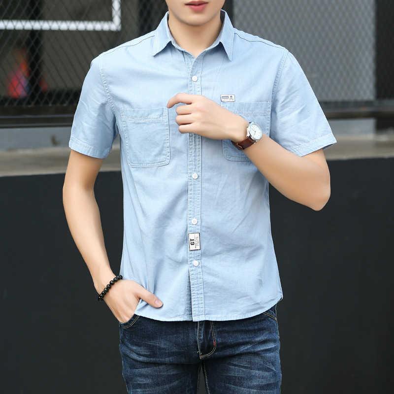 9040d30e714cd ... Мужская Повседневная джинсовая рубашка с коротким рукавом больших  размеров, удобные тонкие джинсовые рубашки, мужские ...
