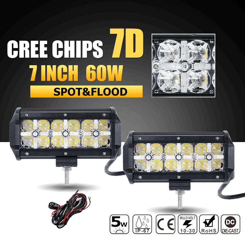 Oslamp 7D CREE Chips 60W 7 LED font b Light b font Bar Offroad Combo Beam