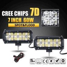"Oslamp 7D Virutas DEL CREE 60 W 7 ""Haz Combo LED Light Bar Offroad Luz de Conducción Lámpara del Trabajo del Led para el Carro SUV Barco ATV 4×4 4WD 12 v 24 v"