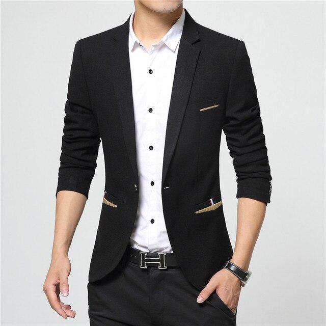 b4aa9c964 € 27.66 |2016 Nueva Llegada del Resorte Estilo de la Chaqueta Hombres de La  Marca de Moda Slim Fit Traje Chaqueta Outwear Coat Trajes Para Hombres ...