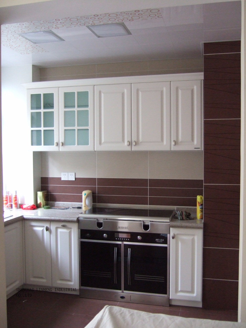 PVC/vinilo gabinete de cocina (LH PV029) en Gabinetes de cocina de ...