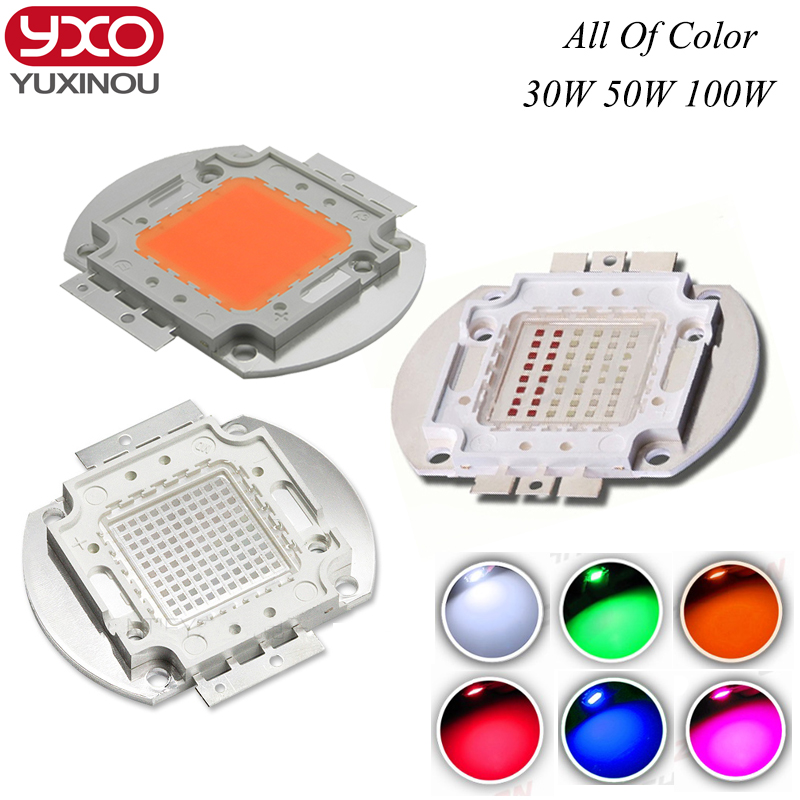High Power LED Chip 30w 50w 100W Natural Cool Warm White Red Blue Green UV RGB IR Full Spectrum Grow Light for Floodlight cool screaming mask w tongue white black red
