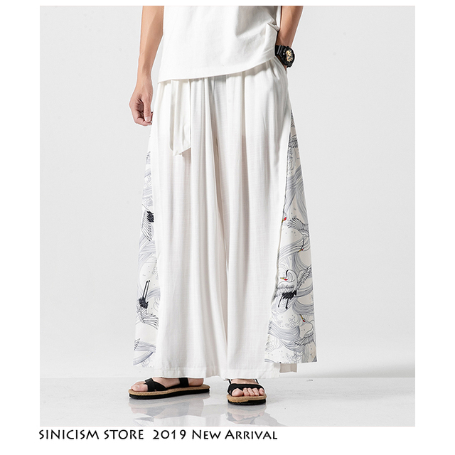 Sinicism Store 2020 Summer Chinese Style Cotton Pants Mens Patchwork Vintage Loose Pants Male Wide Leg Pants 14