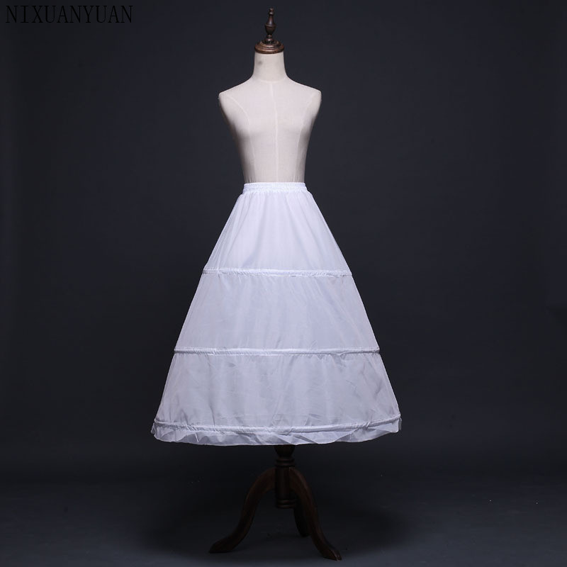 Cheap Ball Gown Wedding Petticoats Black White 3 Hoops Underskirt Crinoline Long Bridal Petticoats Wedding Accessories