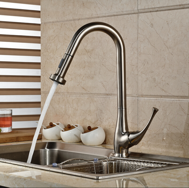Stainless Steel European Style Kitchen Faucet With Pull Out Sprayer - Single hole kitchen faucet with pull out spray