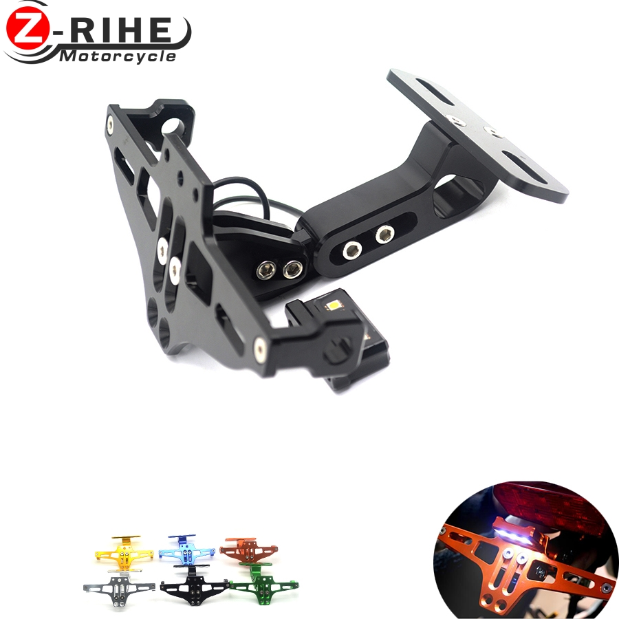 Motorcycle License Plate Bracket Licence Plate Holder Frame Number Plate&License plate lights For honda cbr600 f2 f3 f4 f4i 1991 motorcycle tail tidy fender eliminator registration license plate holder bracket led light for ducati panigale 899 free shipping