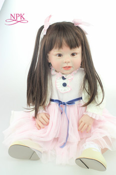 NPK 70cm Silicone Reborn Baby Doll Toys Like Real 28inch Vinyl Princess Toddler Babies Dolls long hair bebes reborn bonecas 1