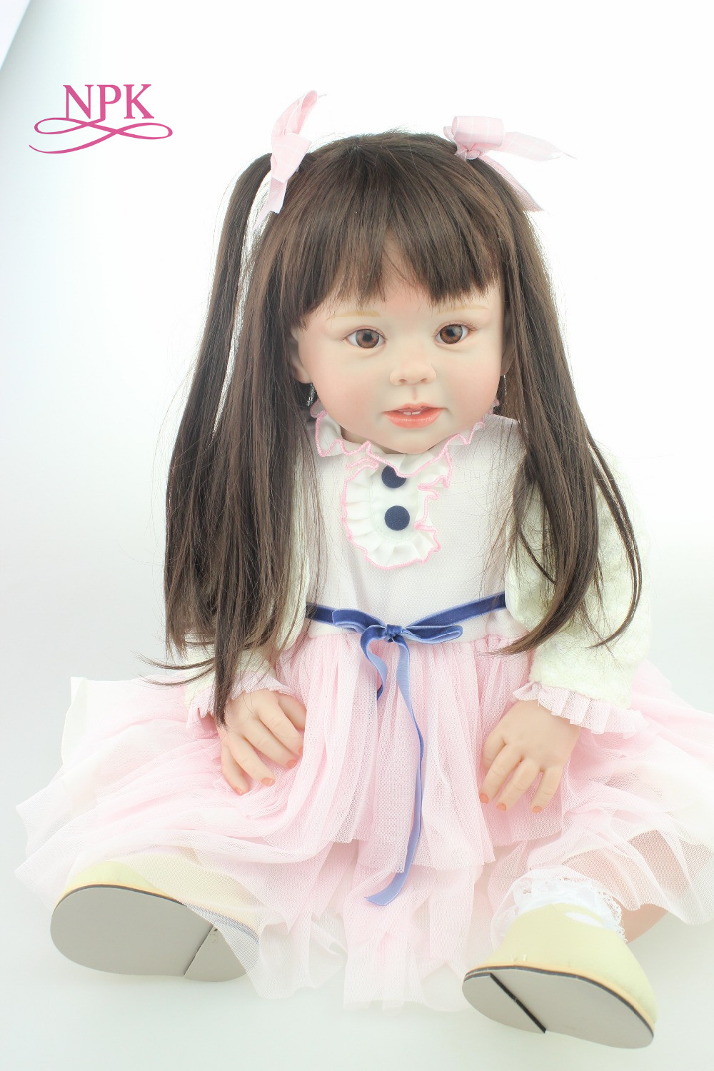 NPK 70cm Silicone Reborn Baby Doll Toys Like Real 28inch Vinyl Princess Toddler Babies Dolls long hair bebe reborn bonecas npk brand doll reborn long brown hair princess baby dolls soft silicone toddler girls toys boneca reborn realista