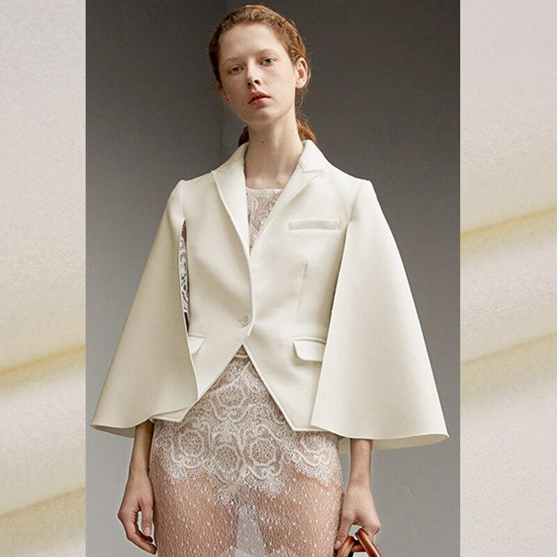 140 см шириной 470 г/м Вес белые однотонные Цвет вдвое Уход за кожей лица шерсть креп Ткань для весны и осени платье рубашка пиджак E477
