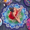 Toalha redonda toalha de praia com borlas poms mandala mandala mandala mandala esteiras de praia toalha de praia rodada cobertor toalha yoga esteiras