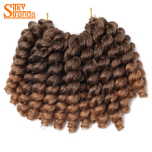 Silky Strands 22Roots Kanekalon Jumpy Wand Curls 6inch 85g Ombre Mambo Twist Crochet Braids Low Temperature Fiber 1Pack/Lot