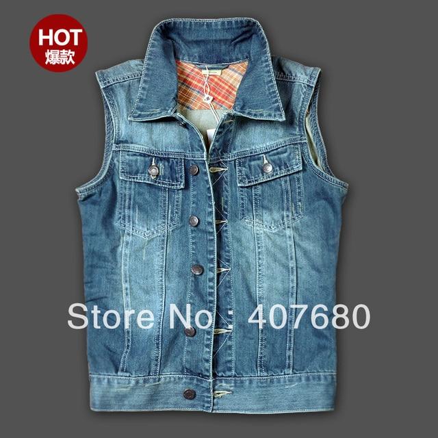 2013 men's summer clothing fashion casual denim vest sleeveless washed vest