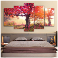 5d Diy Diamond Painting 5pcs Red Seasons Trees Forest paintings by number cross Stitch Full Diamond Embroidery MosaicZP 2747