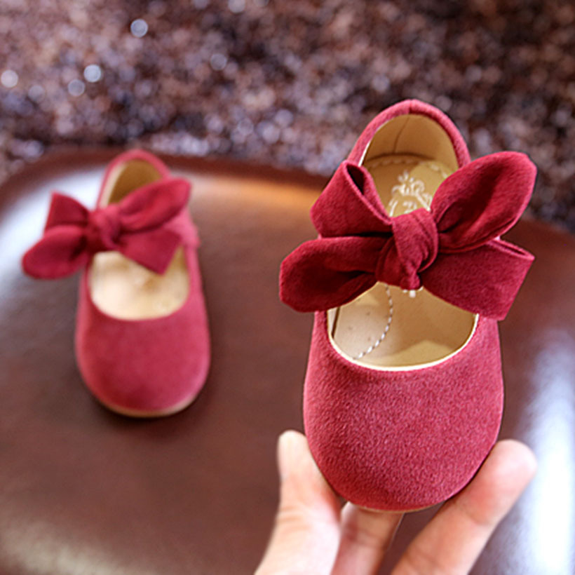 POSH DREAM Burgundy Cute Baby Girl Shoes Spring And Autumn 0-3 Year Princess Baby Shoes Soft Bottom Baby Girls First Walker Shoe