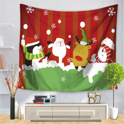 Christmas Tapestry Wall Hanging Beach Towel Blanket Mat Santa Claus Snowman Childrens Room Home Decoration Gift