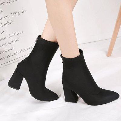 2018 Frauen Stiefel Seltsame Stil Dicken High Heels Herbst Winter Weiblichen Kurzen Mode Stretch Lycra Socke Schuhe Frau Zipper
