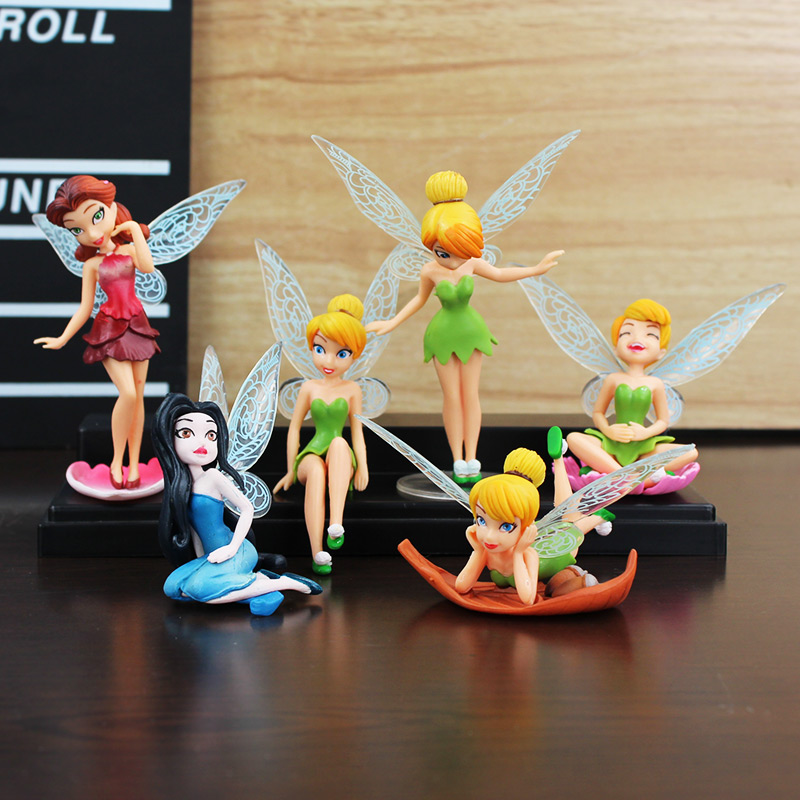 6pcs/lot Kawaii Cosplay Tinkerbell Dolls Flying Flower Fairy Action Figures Animation Educational Toys For Kid Gift