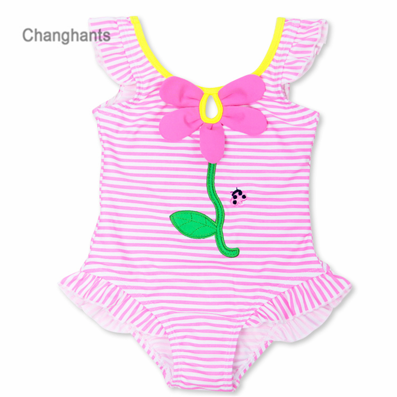 Baby Girls Swimwear Pink Striped Pattern 1-8Y Kids Swimming wear Children One Piece Bathing Suit Summer Beach Wear   sw0604