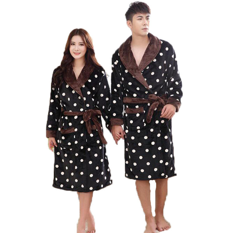 Polka Dot Flannel Couples Bathrobe Kimono Nightwear Bath Robe Women Men Dressing Gown Peignoir with Belt Long Robes for Lovers
