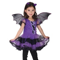 Hot Fancy Masquerade Party Bat Cosplay Dress Witch Clothing Halloween Costume For Kids Girls With Wings