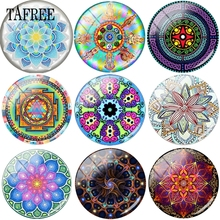 TAFREE Trendy Charming Mandala Pattern Glass Beads Cabochon Dome Base Cover Pendants 12mm - 20mm In Dia Pretty Jewelry Findings