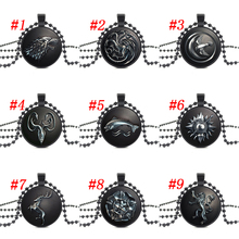 Game of Thrones house stark Glass Cabochon Wolf Jewelry Black Bead Chain Necklace & pendants