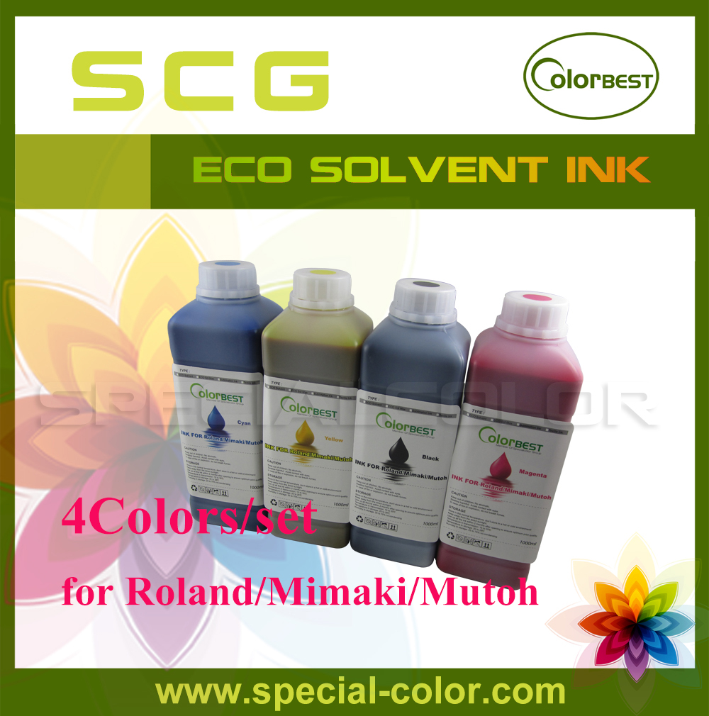 4 x 1000ml New Eco Max Ink/Eco Solvent Ink for Chinese DX4/DX5 Printer new and original dx4 printhead eco solvent dx4 print head for epson roland vp 540 for mimaki jv2 jv4 printer