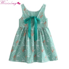 2017 Girl Summer Dress Kids Sleeveless Printing Pattern Cotton Vestidos Children Clothes