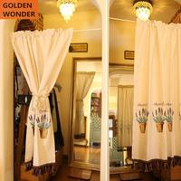 American Cotton and Lien Lavender Bird Door Curtain Cabinet Short Curtains For Kitchen Chinese Curtain White Color Fabric