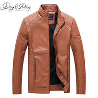 DAVYDAISY New Arrival PU Leather Jacket Men Autumn Stand Collar Zipper Men Coat Casual Dress Leather Coat Plus Size 6XL DCT 227