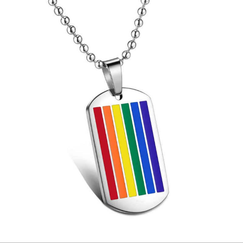 Stainless Steel Rainbow Pendant LGBT Necklace Equality Symbol Jewelry Fashion Cloth Accessories