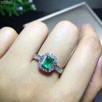 Natural emerald ring 4 * 6 mm rectangular emerald ring precious Gemstone exquisite jewelry