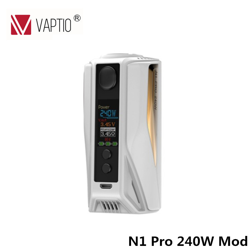 100% Original Electronic Cigarette Box Mod Vaptio N1 Pro 240W Box Mod Vape 240W NI/TI/SS TC Mod Fit 2/3 18650 Battery(without) fusion 2 box vape 2017 vivakita vaping electronic cigarette fusion ii electronic kits with mechanical mod best selling