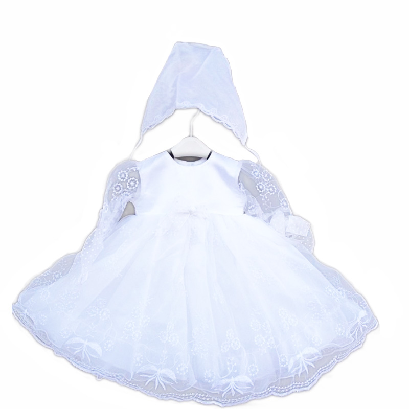 2016 Newborn Embroidery Formal baptism dresses with hats white vintage christening gown 0690