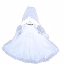 2016 Новорожденный Вышивка Формальный крещение платья с шляпы, белое марочное крещение платье 0690