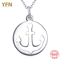 YFN 925 Sterling Silver Jewelry Charm Boat Anchor Necklace Pendant For Women Free Shipping GNX11955