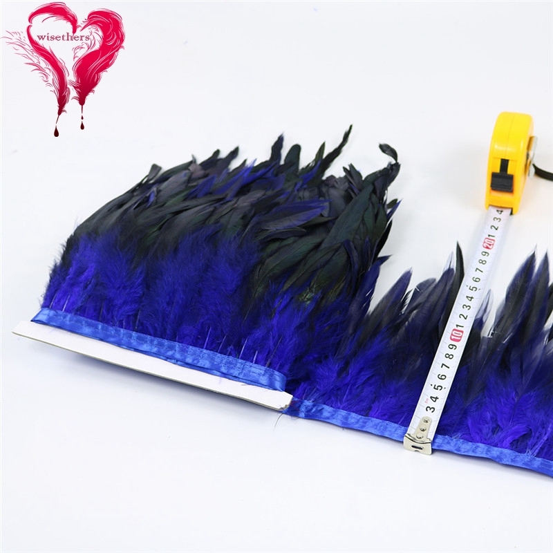5 blue rooster feather trims 5