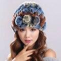 Women Genuine Knitted Rex Rabbit Fur Hats Natural Stripe Rex Rabbit Fur Caps lady winter warm Headwear free shipping#H9003
