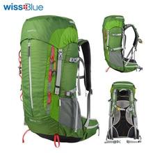 WissBlue 50L Vízálló nylon unisex sporttáskák utazáshoz Kemping Gyaloglás Hegymászás Hátizsákok Raincover kültéri hátizsákokkal