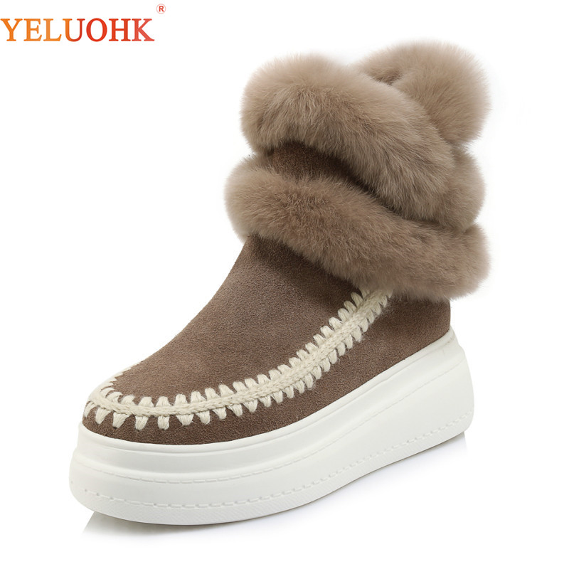 Natural Suede Ankle Boots For Women Warm Platform Boots Women Winter Shoes Top Quality Winter Boots цена