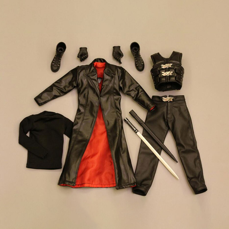 1 6 Scale Dwayne Johnson Blade Warrior Vampire Hunter Leather Suit Clothing Set for 12 Inches