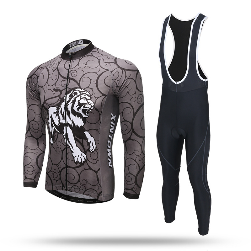 New Long Sleeve Cycling Sets Dark Grey Tiger Anti-sweat Jersey and GEL Pad Bib Pants Road MTB Bike Bicycle Jersey Suit Ciclismo cycling set long sleeve jersey and bib pants 3d pad pro men anti sweat skull cool ciclismo bike suit bicicleta outdoor mtb set