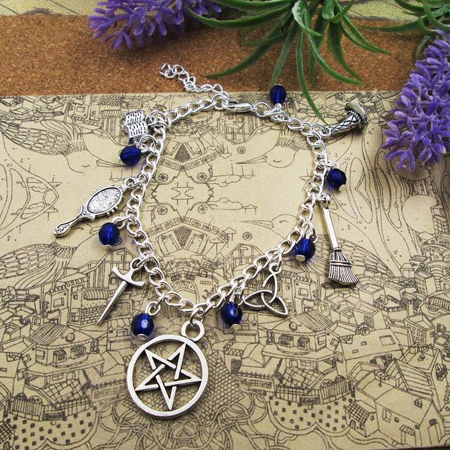 Silver Plated Charm Bracelet  Carnelian Moonstone Lapis Witch Wicca Charm Bracelet, Silver Braceletl pendant bracelets