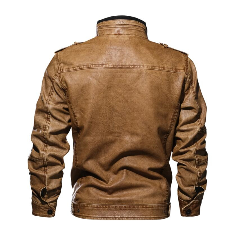Men's Military Bomber Leather Jackets 2019 New Autumn Winter Thick Warm Tactical Pilot Multi-Pocket Leather Jacket Coat 4XL 5XL