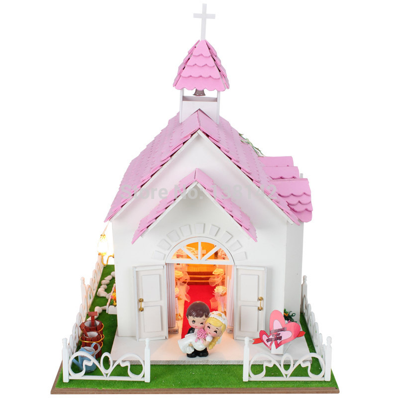 13826 hongda large diy wooden dollhouse led doll house lights miniaturas house for dolls toys girls free shipping сумка kipling 2015 k12969