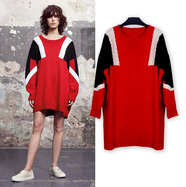 Streetwear Sweater Dress Autumn Loose Striped Hot Red Robe Mujer Thermal Full Sleeve Fashion Winter Kjole Pullover Big Size RL51