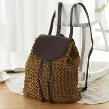 цена на New Women's Backpack Crochet Paper Rope Braided Drawstring Women's Straw Backpack Summer Travel Outing Ladies Woven Backpack