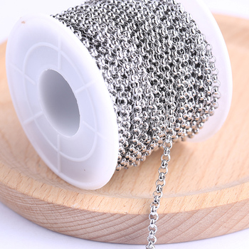 onwear 10meters/roll 2mm 3mm circle ball stainless steel jewelry chains diy wholesale for necklace making цена 2017