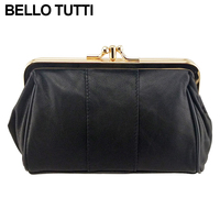 BELLO TUTTI Womens Leather Metal Frame Kiss Lock Coin Purse