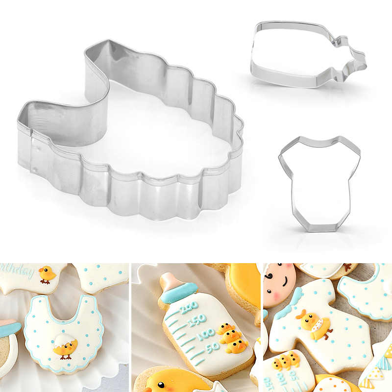 Stainless Steel Cookie Cutter Fondant Molds Baby Bottle Bib Cloth Shape Baking Supplies E2S
